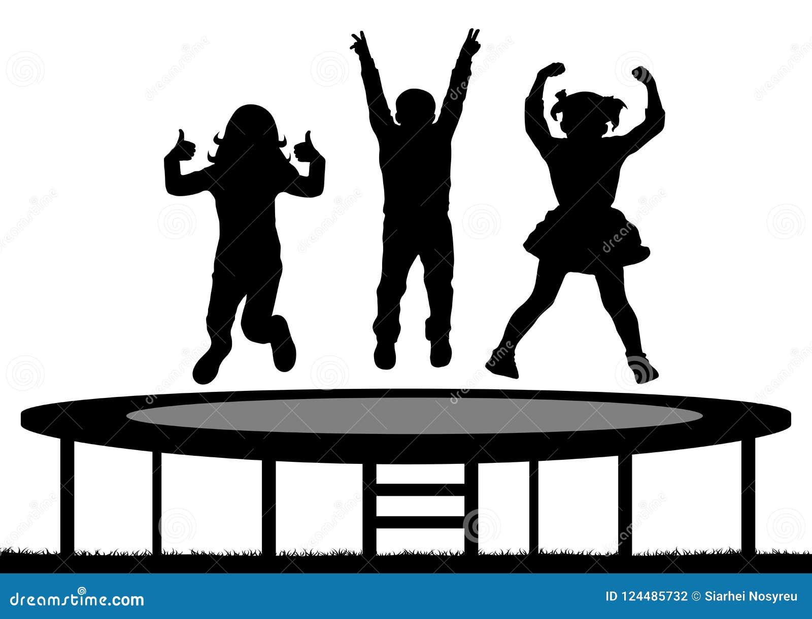 I bambini che saltano sul trampolino, siluetta, vettore