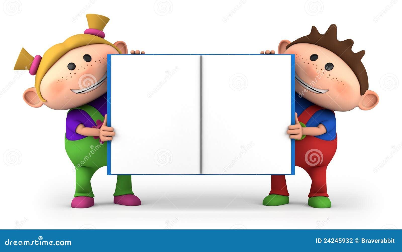 I bambini con lo spazio in bianco aprono il libro