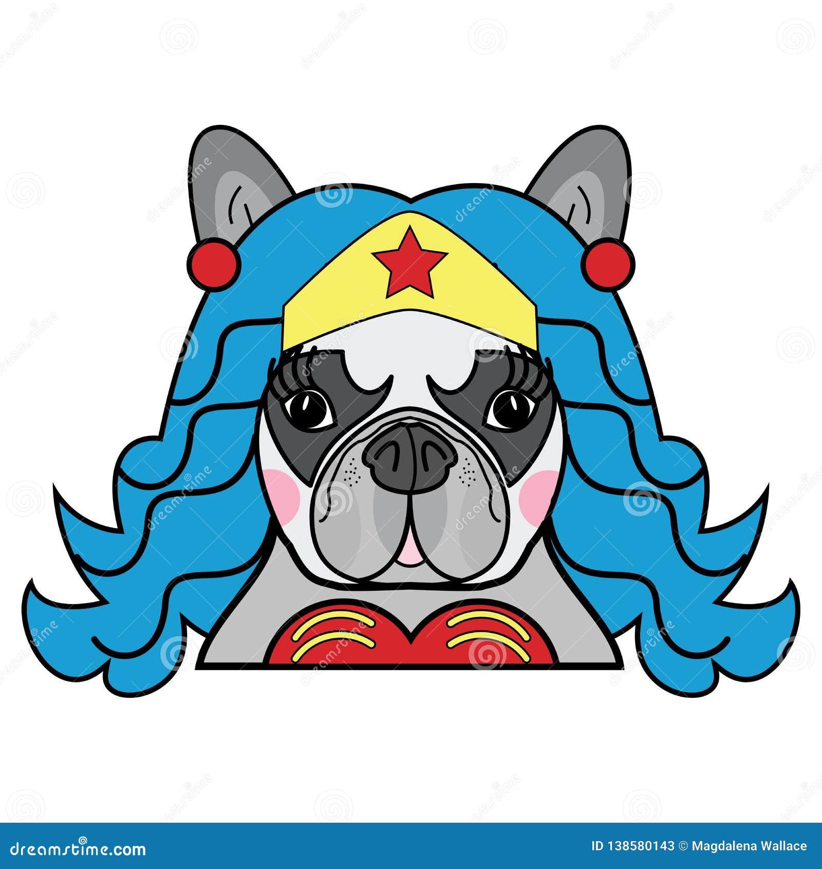 I bambini disegnano il vettore femminile sveglio del carattere comico del supereroe del cane del bulldog francese a colori