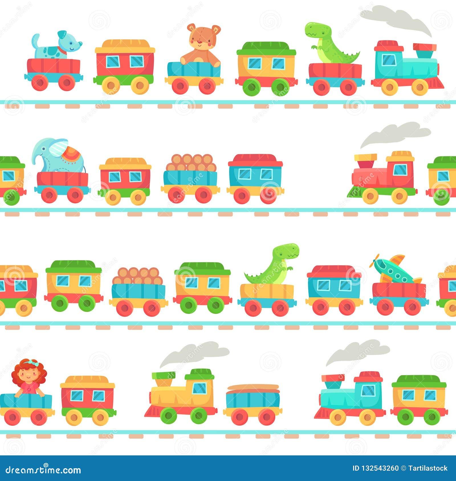 I bambini giocano il modello del treno Giocattoli della ferrovia dei bambini, trasporto dei treni del bambino sulle rotaie e vett