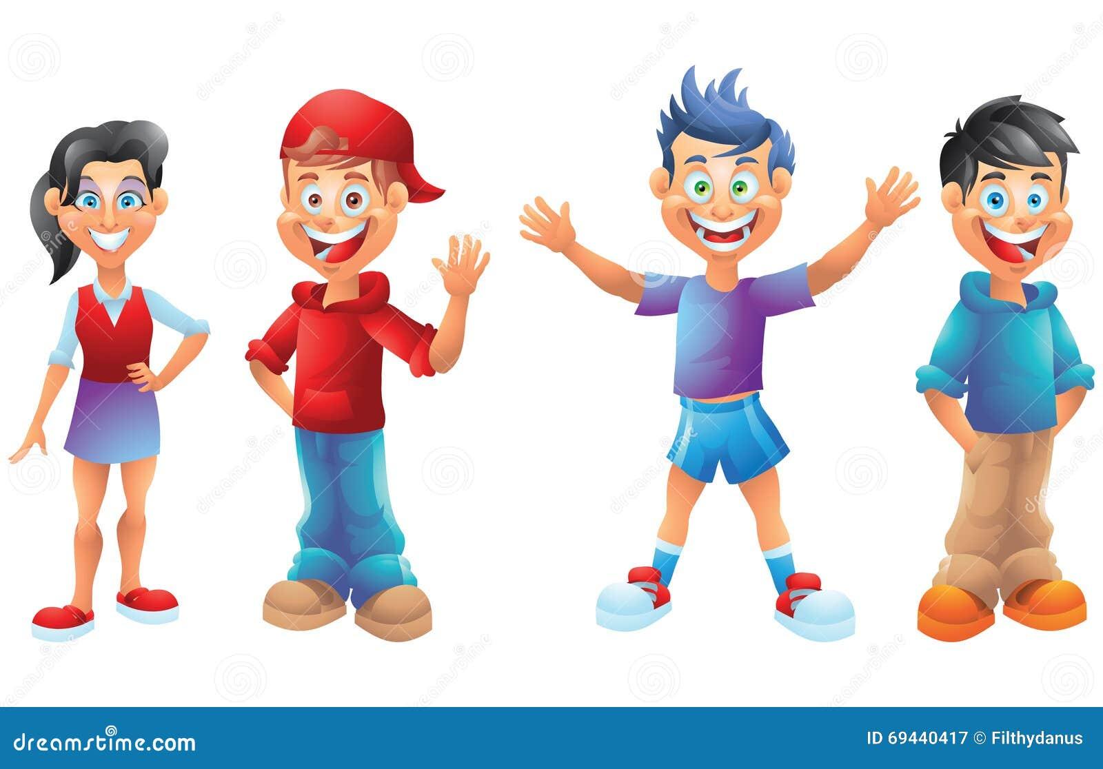 I bambini ragazzi e le ragazze personaggi dei cartoni