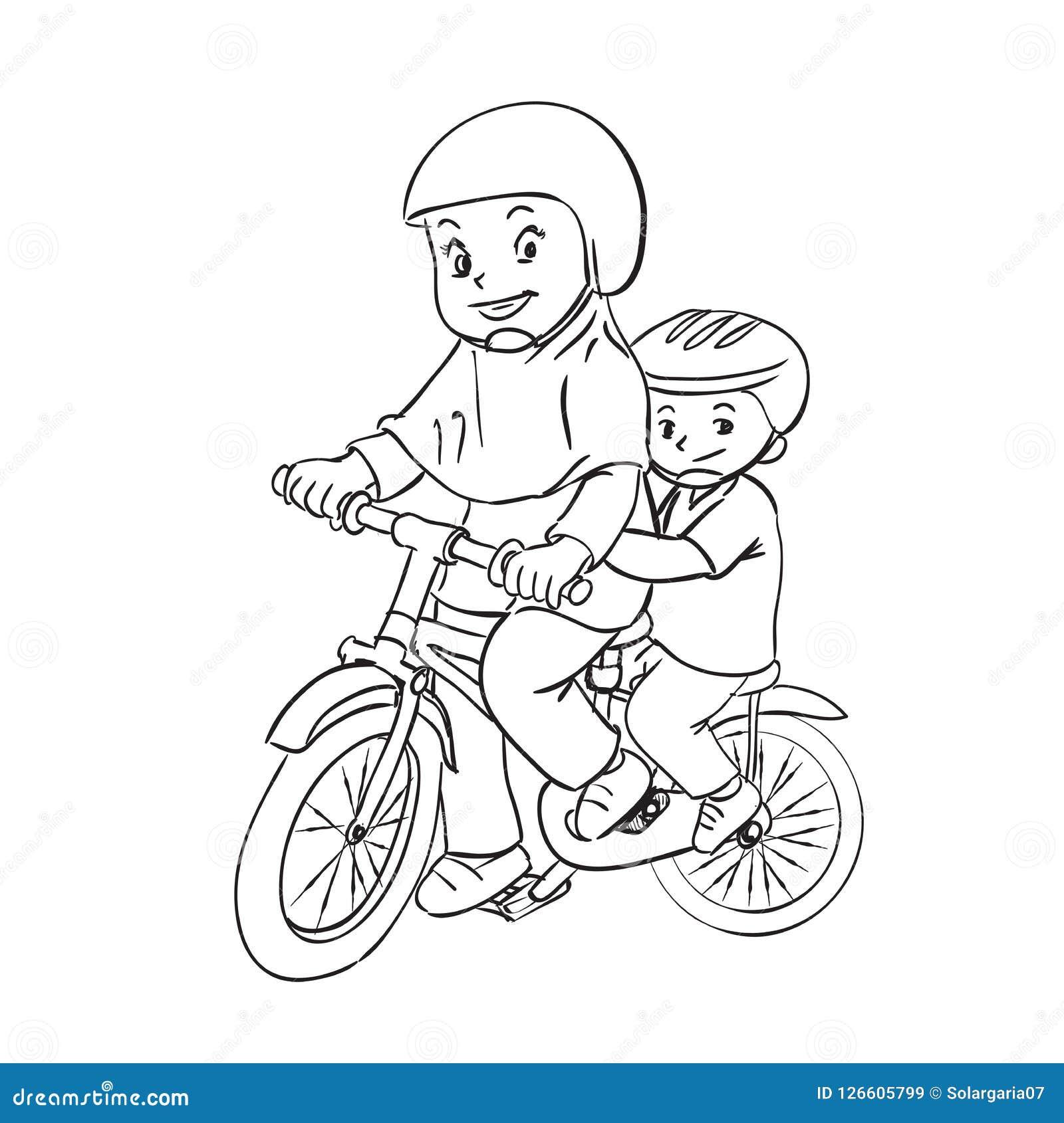 I Bambini Sono Illustrazione Del Fumetto Di Ciclismo Illustrazione