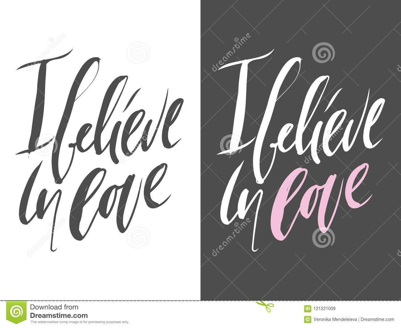 Set Motivational Quotes About Love Hand Lettering And