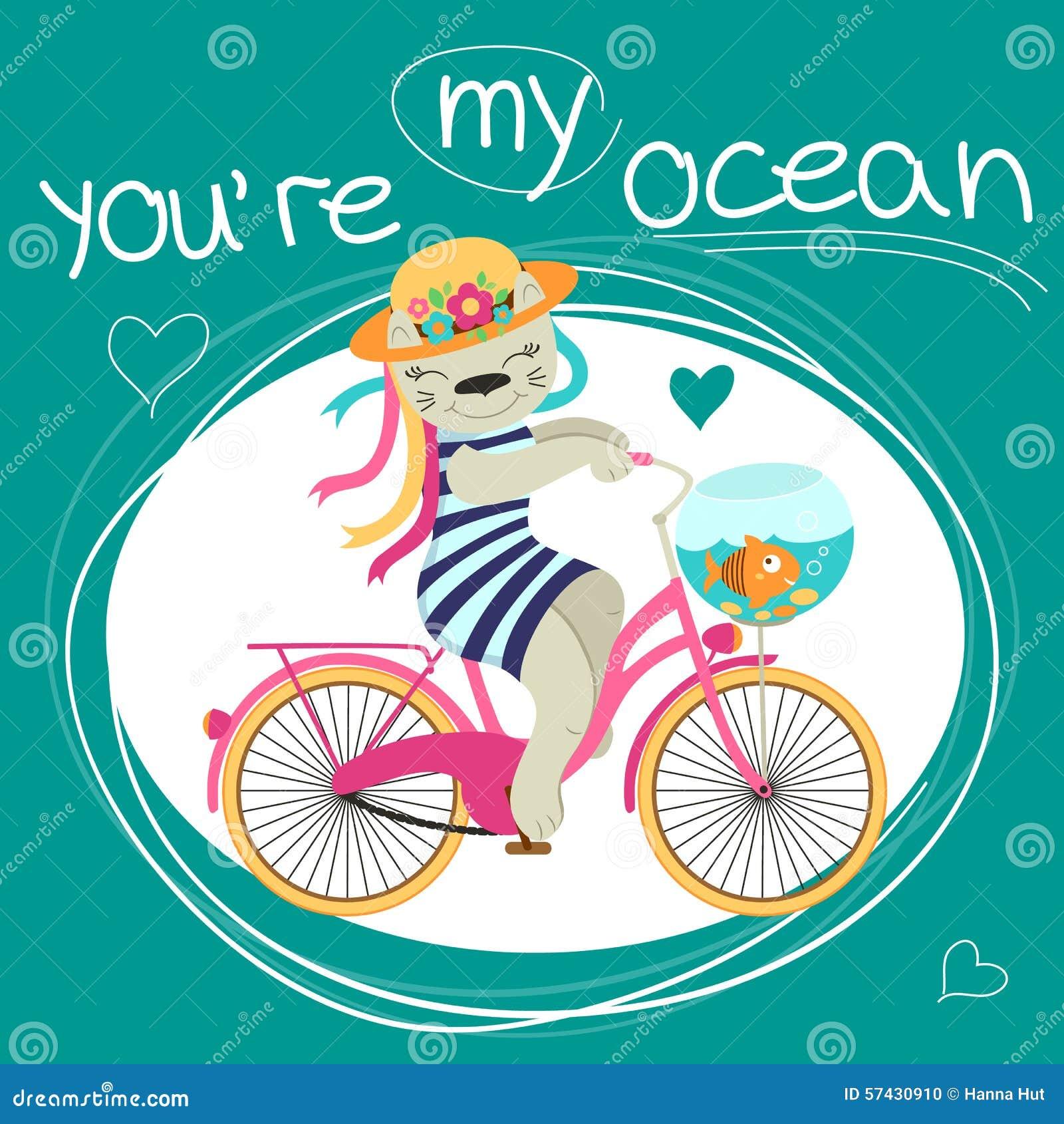 I biglietti di S. Valentino cardano con il gatto sulla bici e sul pesce circa amore
