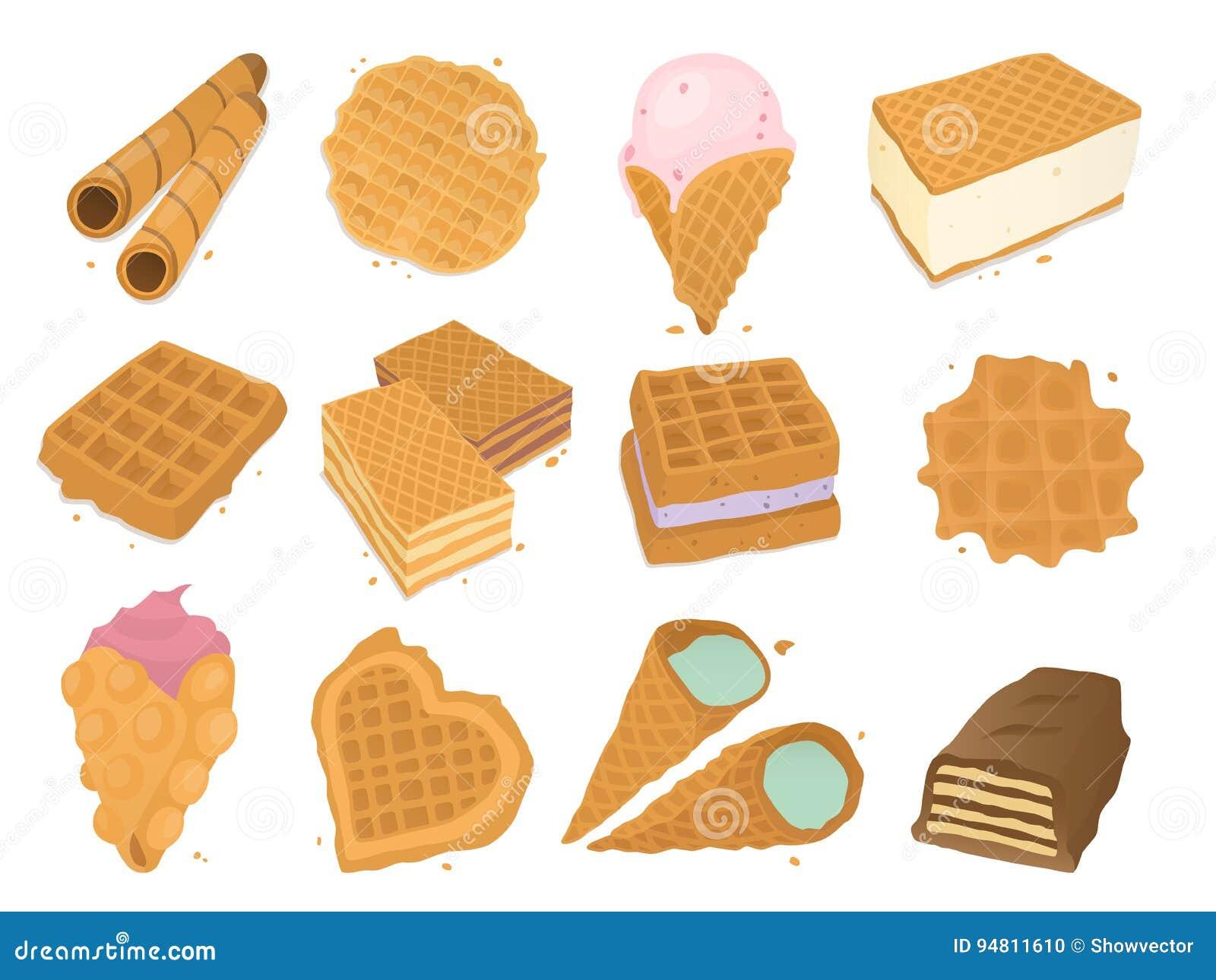 I biscotti differenti del wafer waffle vettore croccante dell alimento del forno del dessert alla panna delizioso dello spuntino