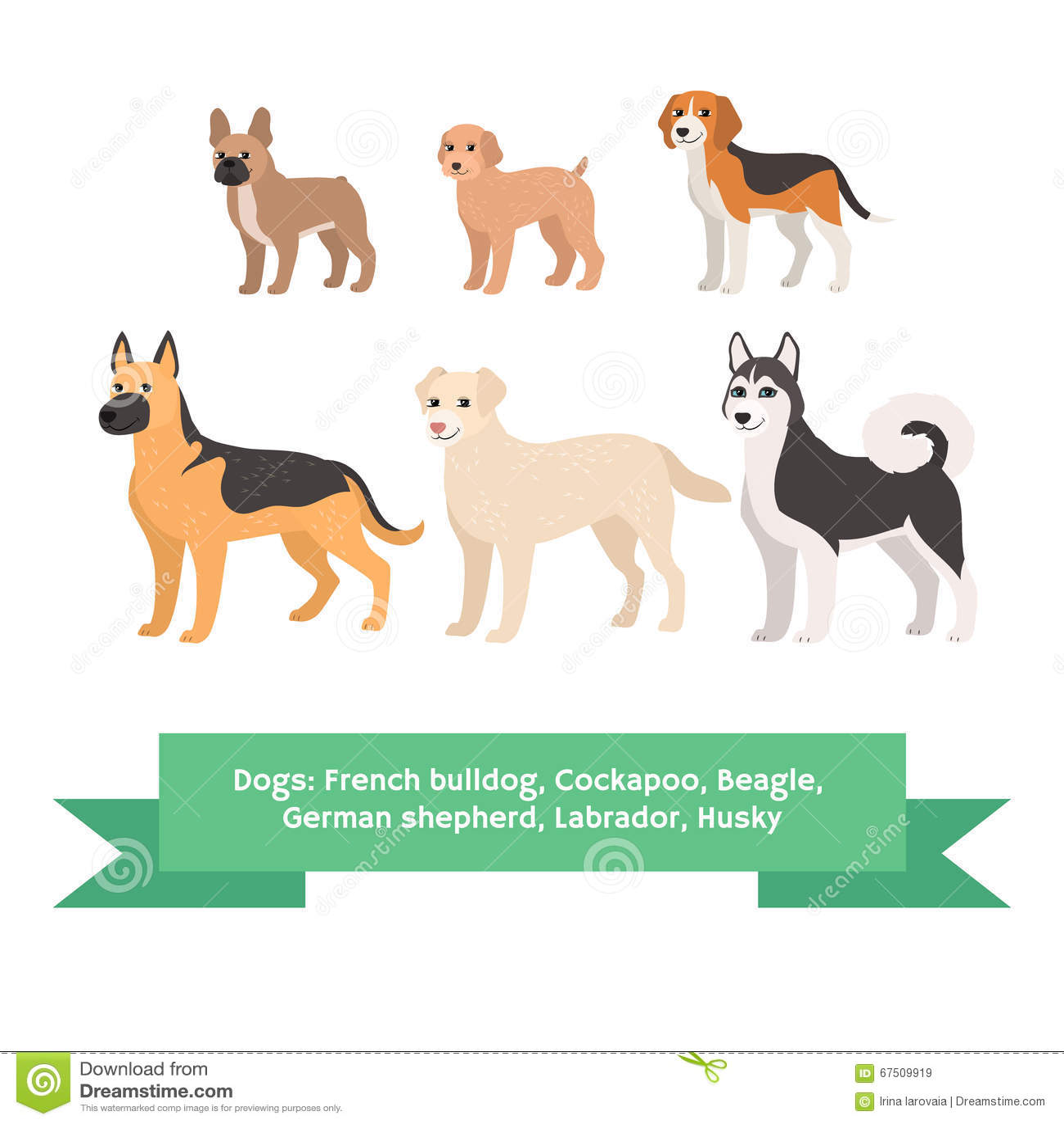 I cani crescono insieme con il husky di labrador del pastore tedesco del cane da lepre di cockapoo del bulldog francese Illustraz