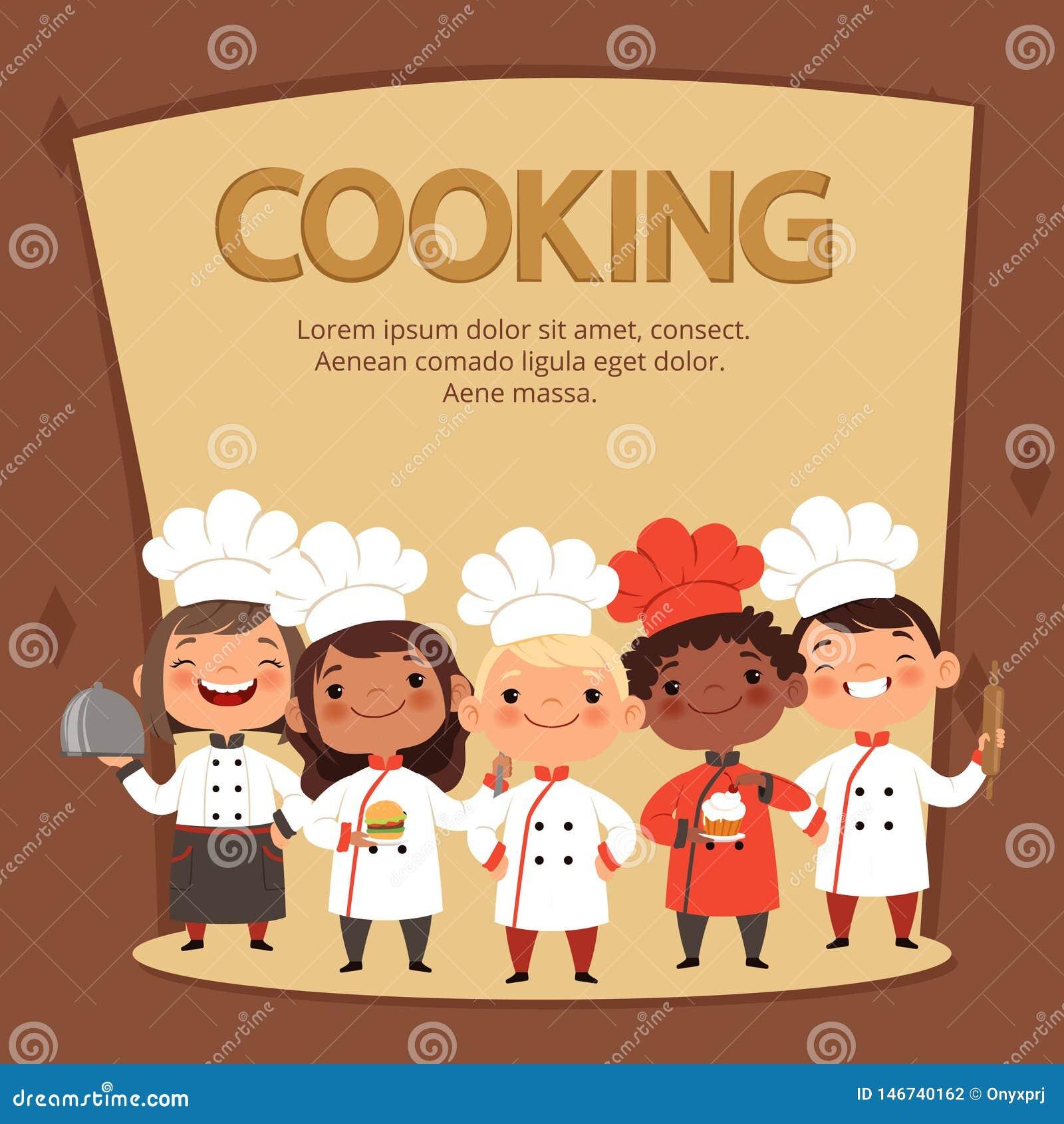 I caratteri dei bambini preparano l alimento Cottura del modello di vettore dell insegna dei cuochi unici dei bambini