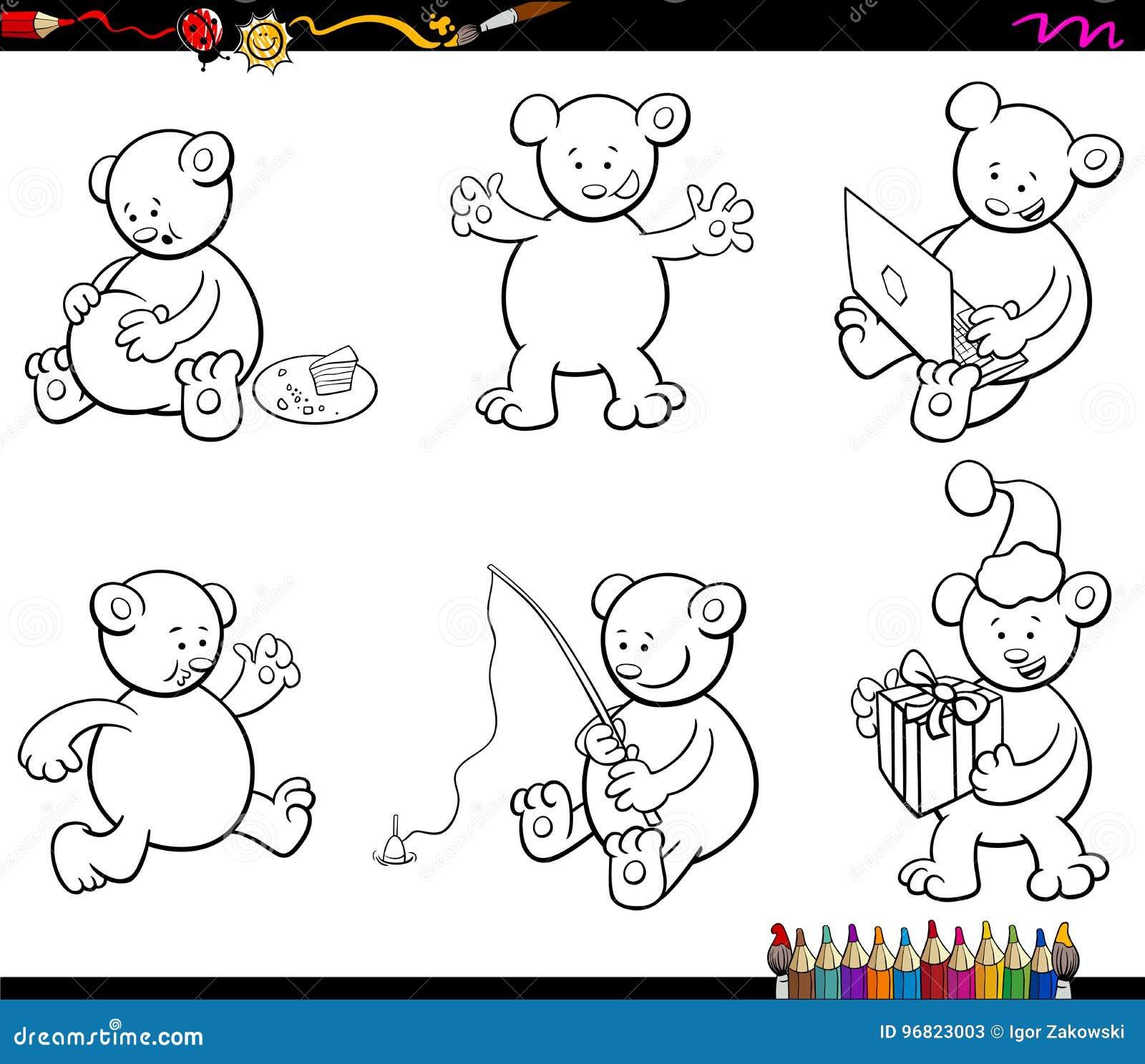 I Caratteri Dell Orso Del Fumetto Hanno Messo Il Libro Da Colorare