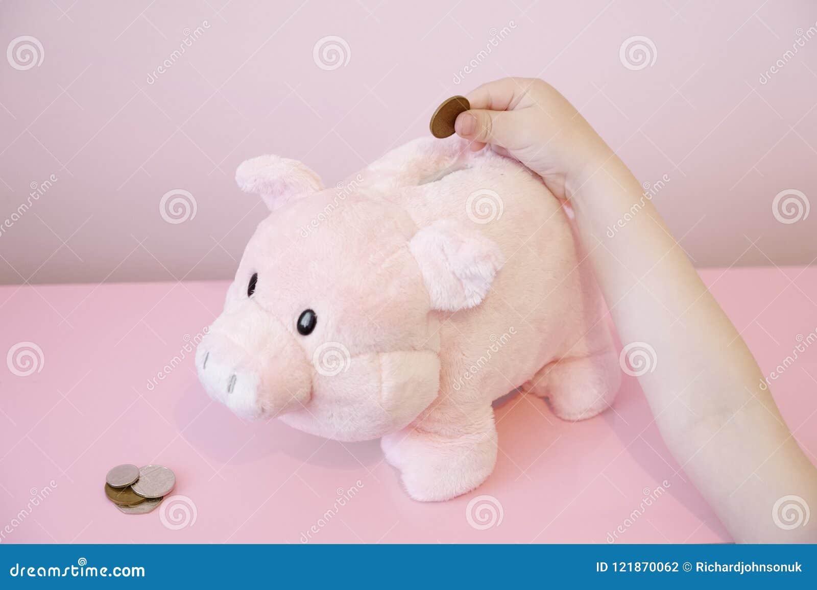 I childs di risparmio del porcellino salvadanaio passano a bambini delle monete il rosa del fondo fiduciario dei soldi finanza si