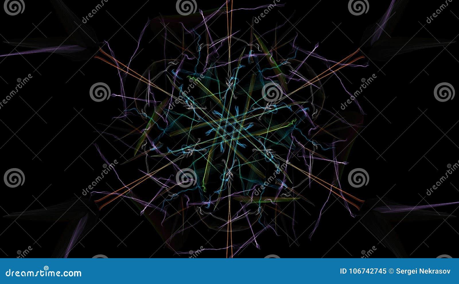I colori luminosi delle linee su fondo nero