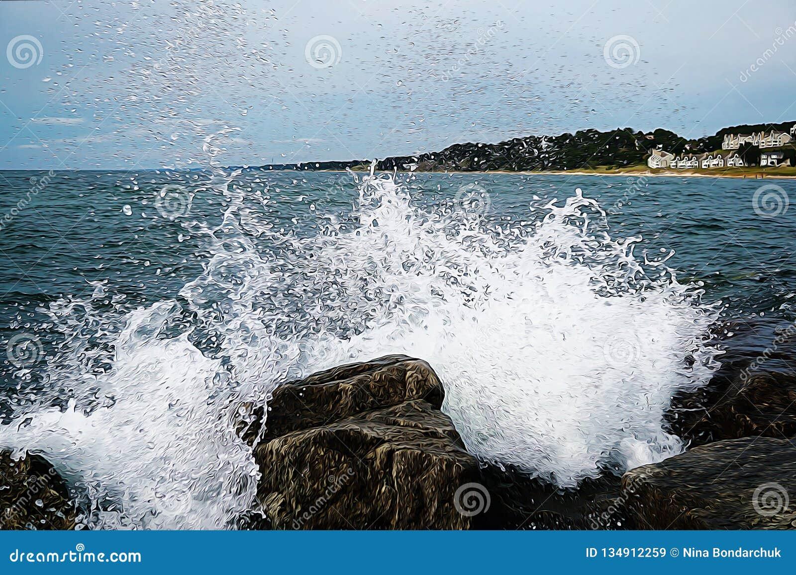 I colpi dell onda contro le pietre immagine della pittura a olio Nella collina del fondo con le casette e gli alberi