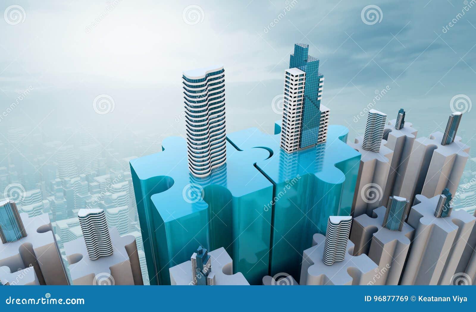 I concetti di affari di acquisizione e di fusione, puzzle dell unire collega