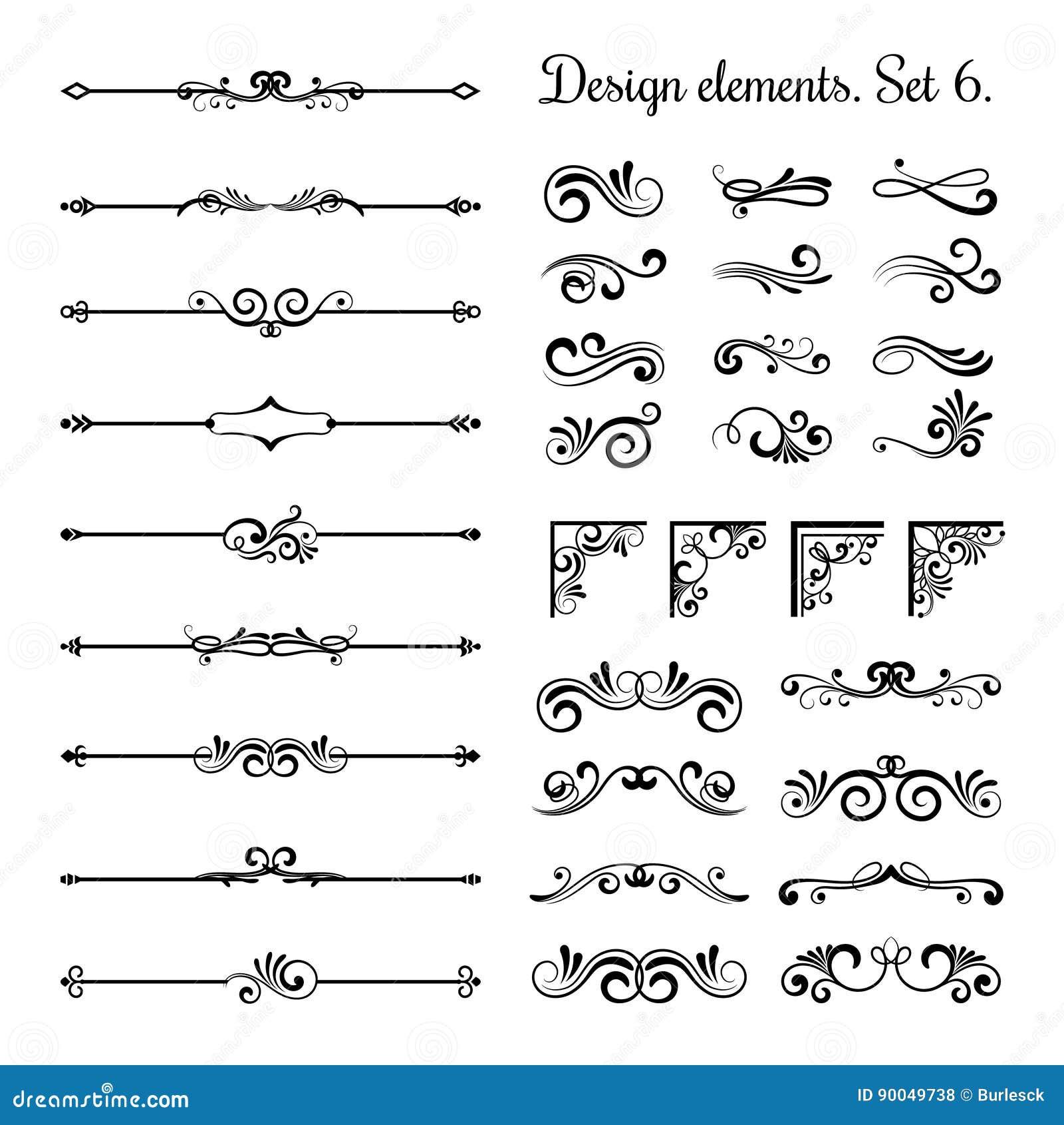 I confini ornamentali e gli angoli di flourish, ornamento reale turbina divisori d annata della pagina di vettore