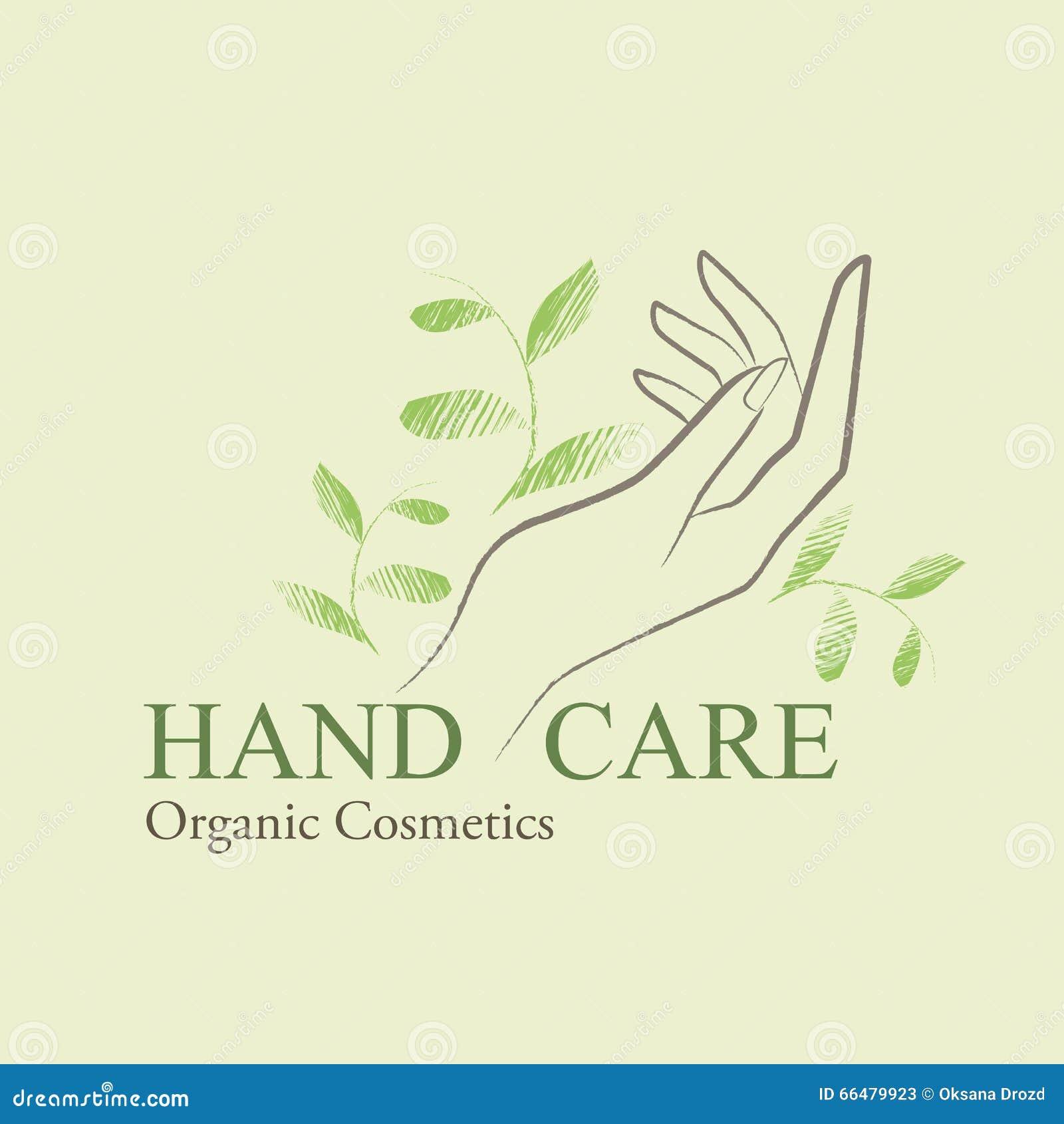 I cosmetici organici progettano gli elementi con la mano della donna contornata