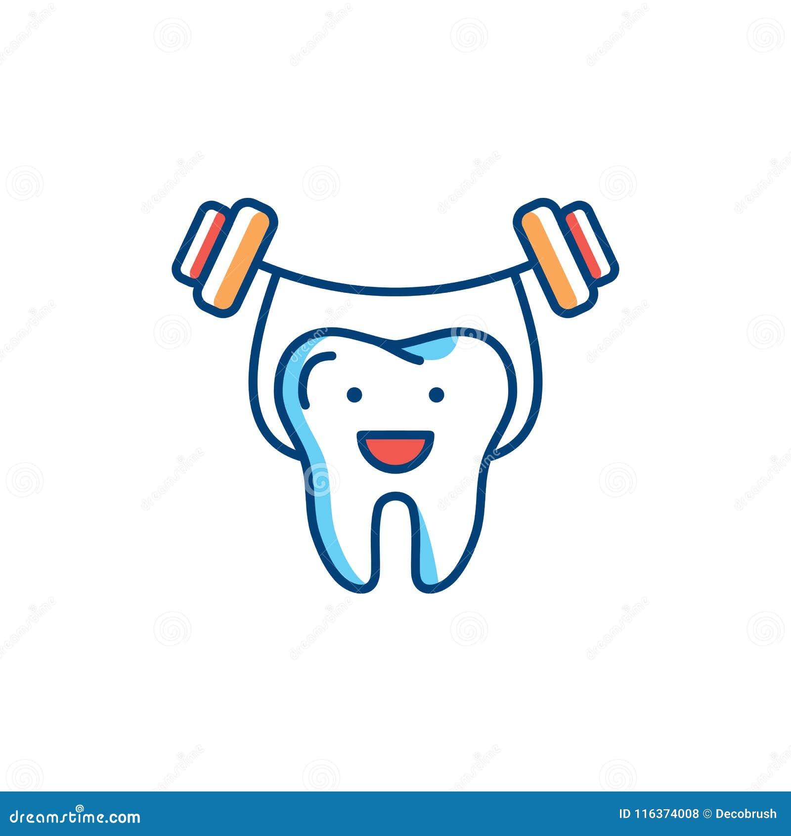 I denti sani allineano l icona, forti tenute del dente il bilanciere Concetto di logo di cure odontoiatriche, modello dentario de