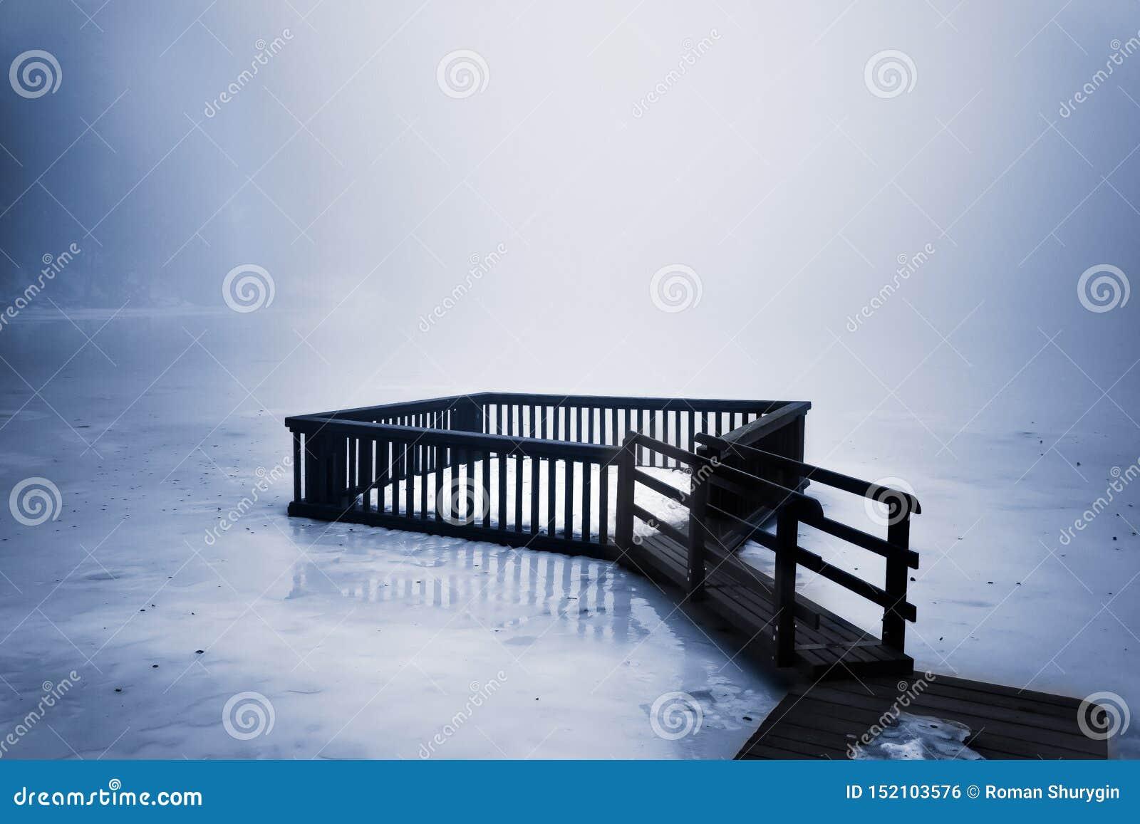 I dimman på den djupfrysta sjön