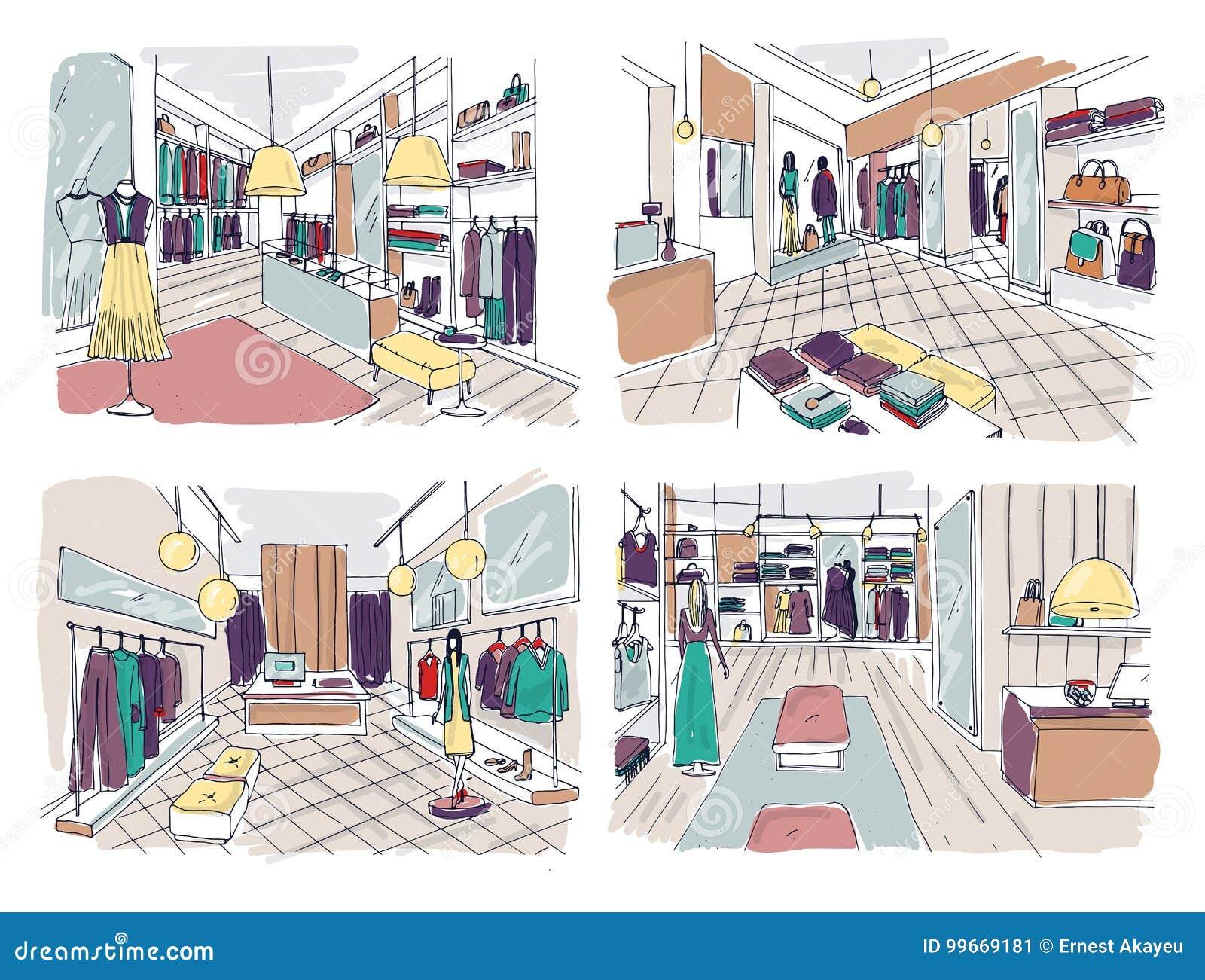 I disegni variopinti dell 39 interno del boutique dell for Disegnare interni