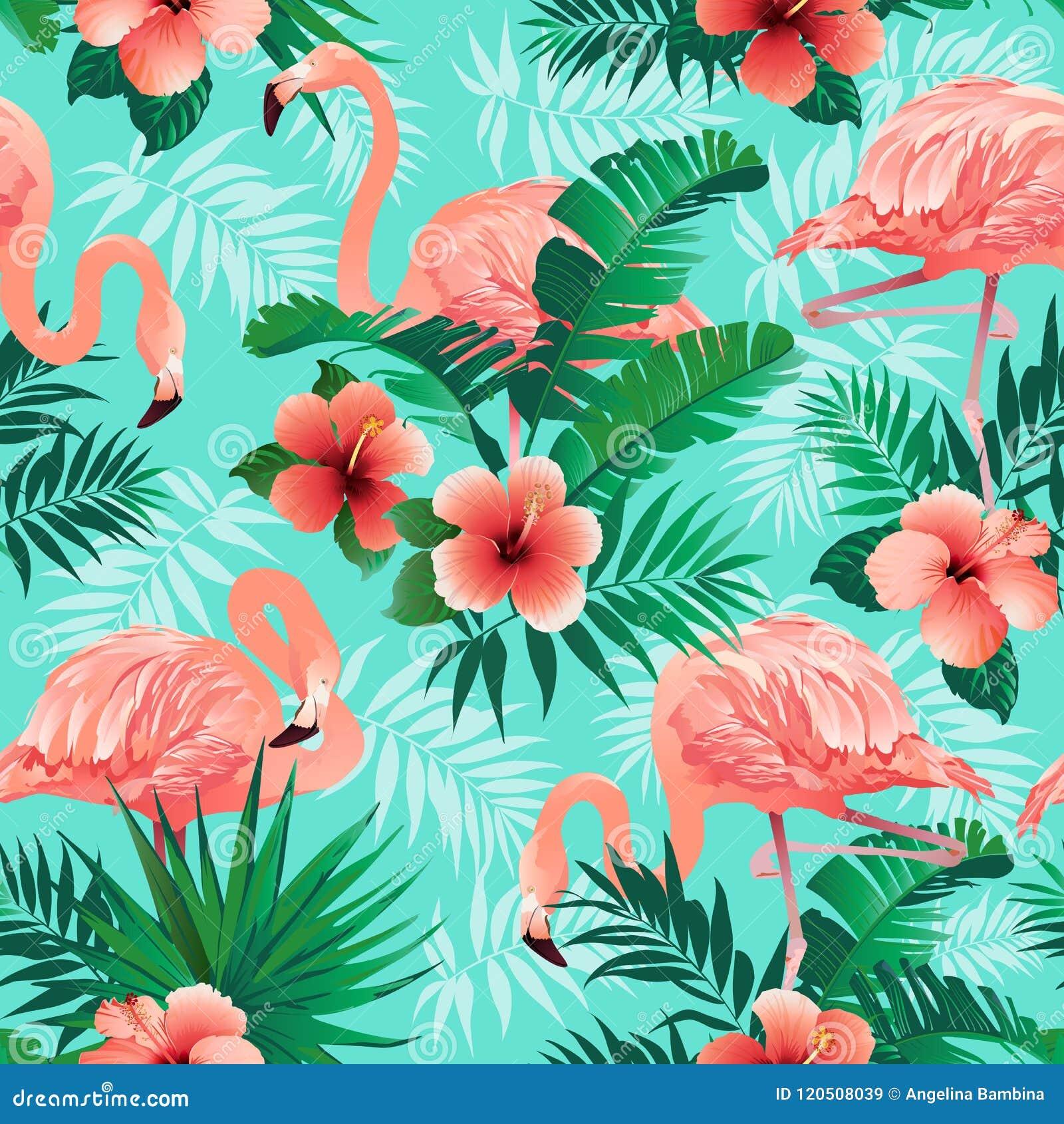 I fenicotteri rosa, gli uccelli esotici, le foglie di palma tropicali, gli alberi, giungla lascia a vettore senza cuciture il fon
