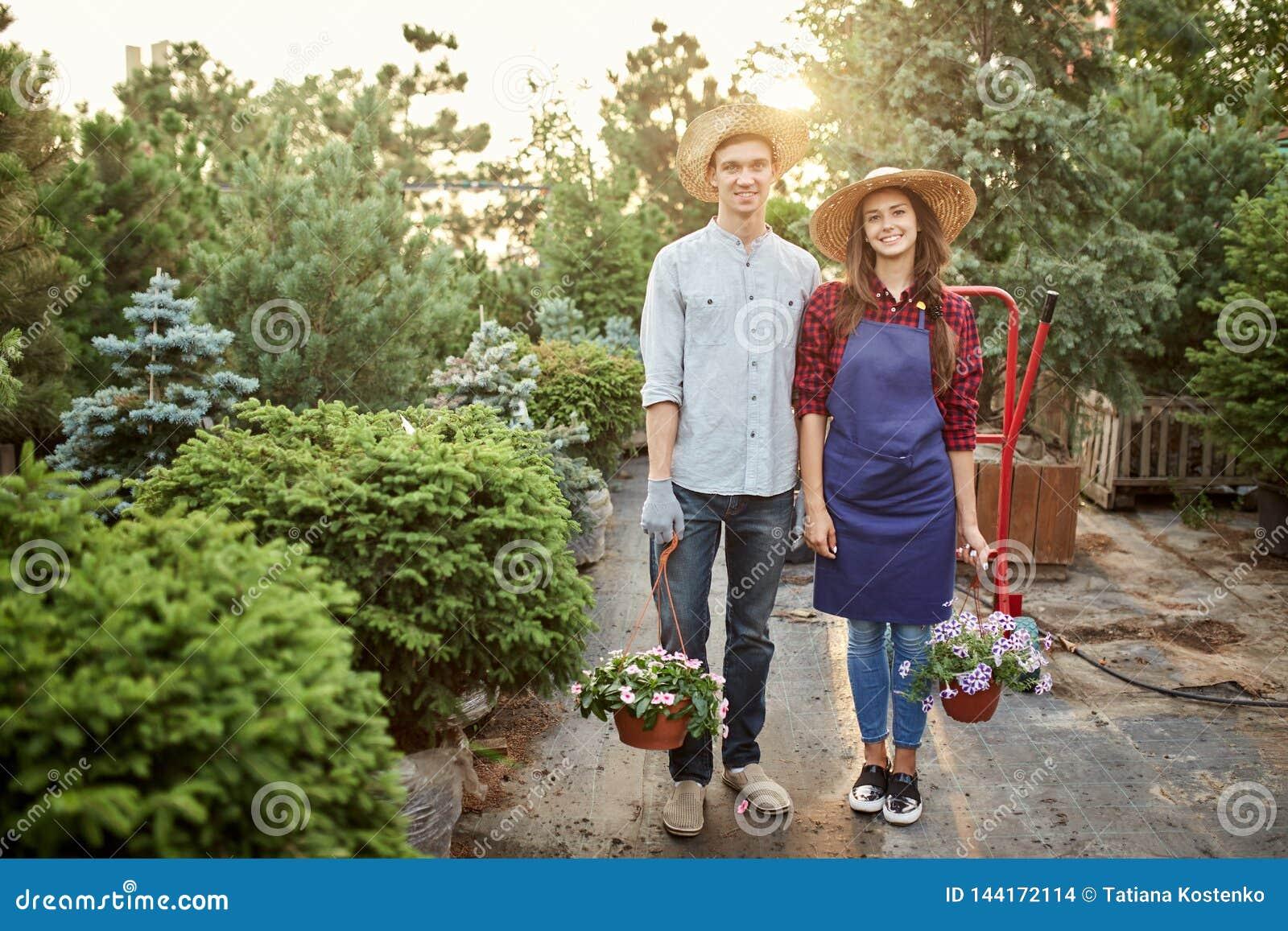 I giardinieri della ragazza e del tipo in cappelli di paglia stanno sul percorso del giardino e tengono i vasi con la petunia mer