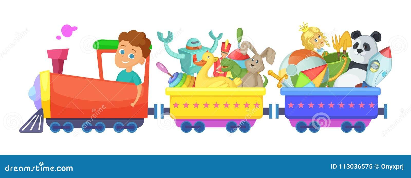 I giocattoli dei bambini in treno Isolato delle illustrazioni del fumetto di vettore su bianco