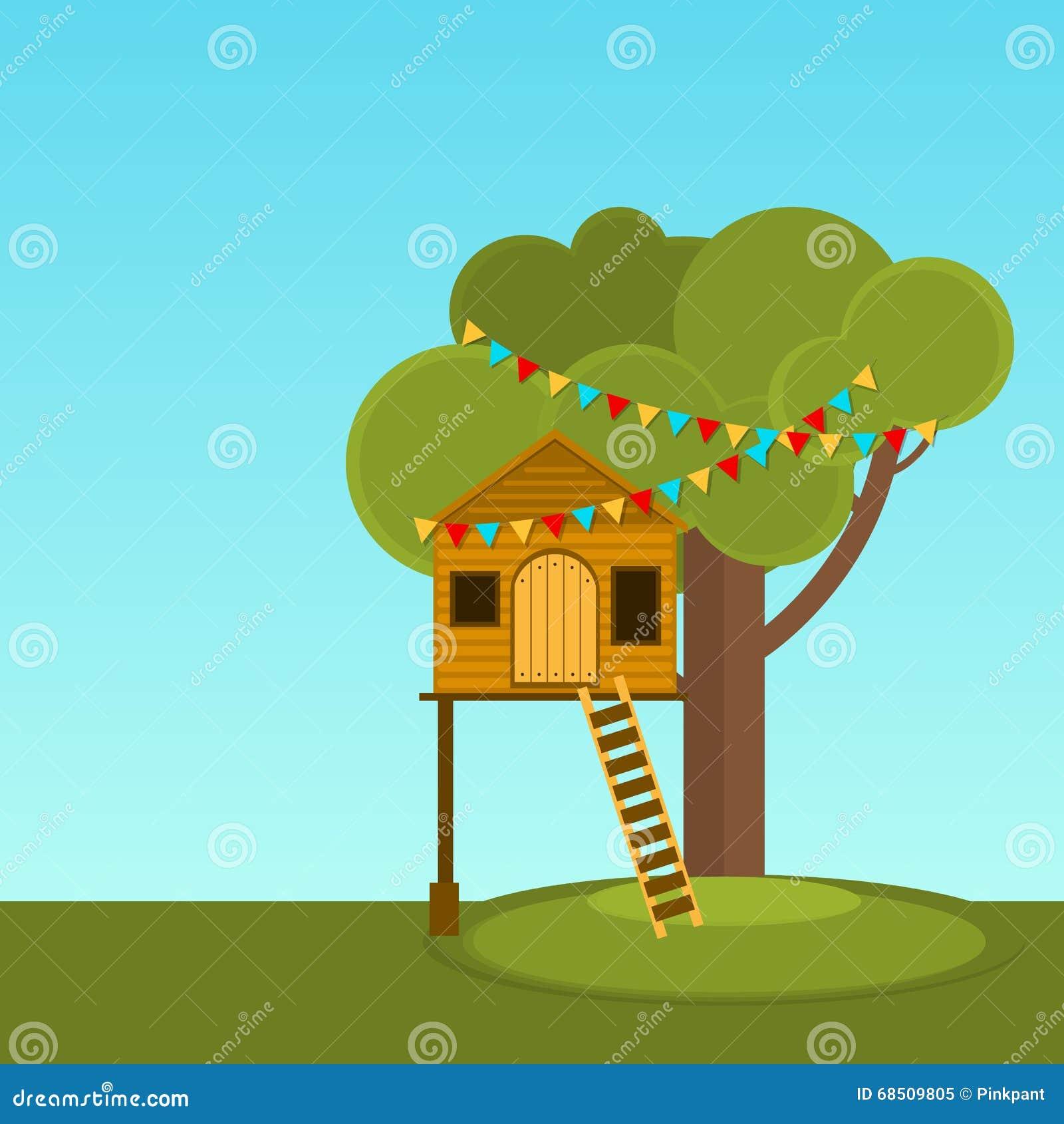 I giochi dei bambini della casa sull 39 albero casetta per giocare di vettore sull 39 albero posto - Casa sull albero per bambini ...