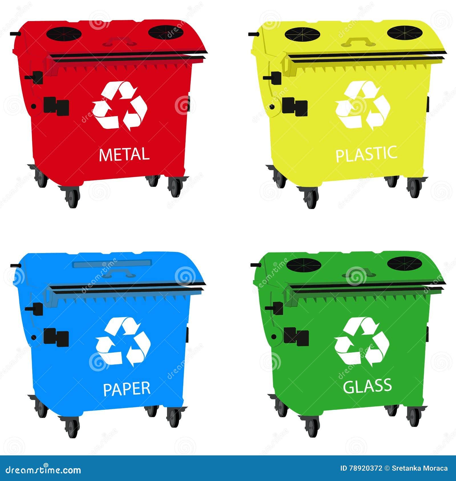 I grandi contenitori per il riciclaggio dello spreco che ordina, riciclano il recipiente
