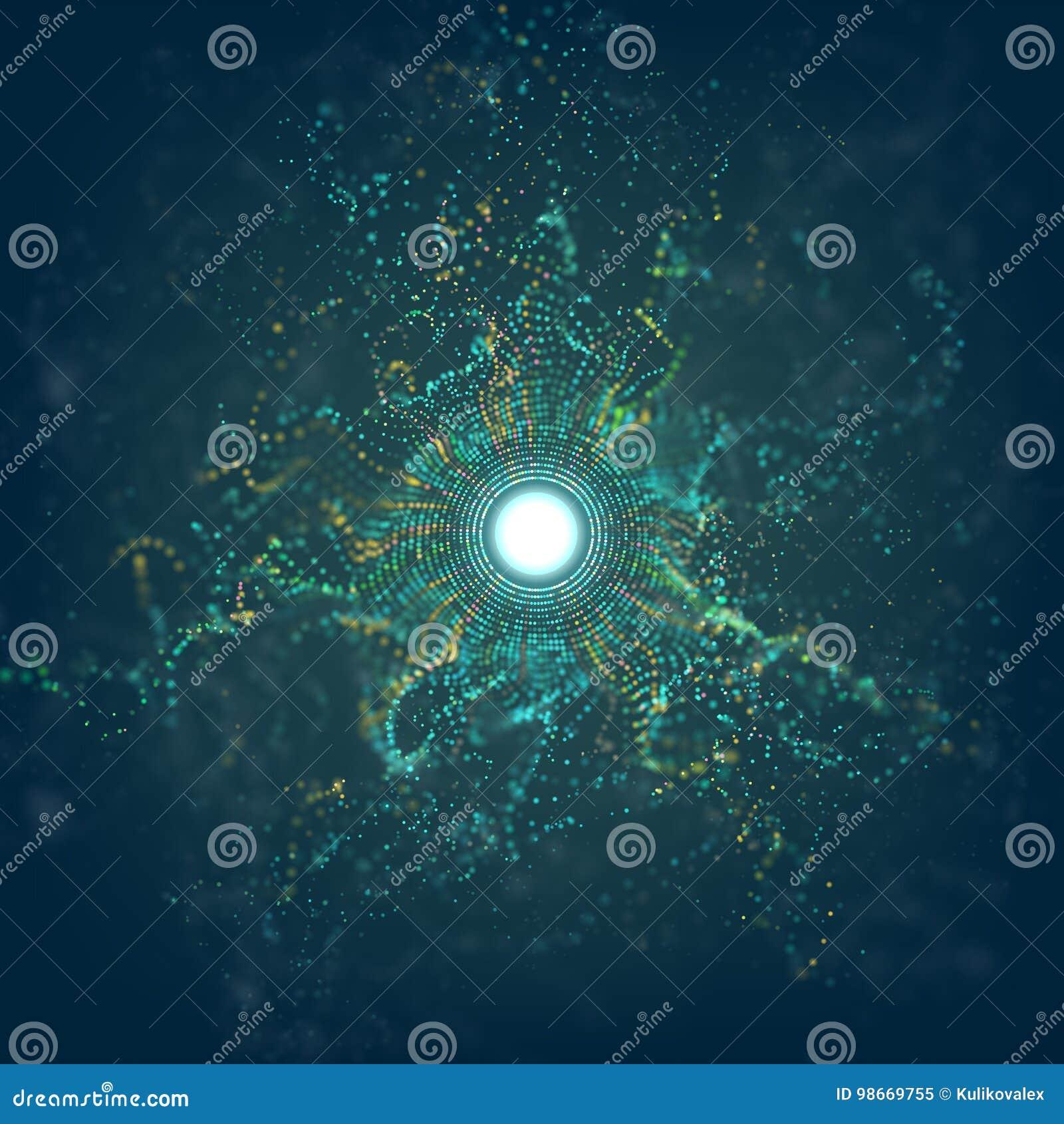I grandi dati circondano l esplosione di griglia della particella con bokeh Fondo del chiarore di vettore dell estratto di Ai Pol