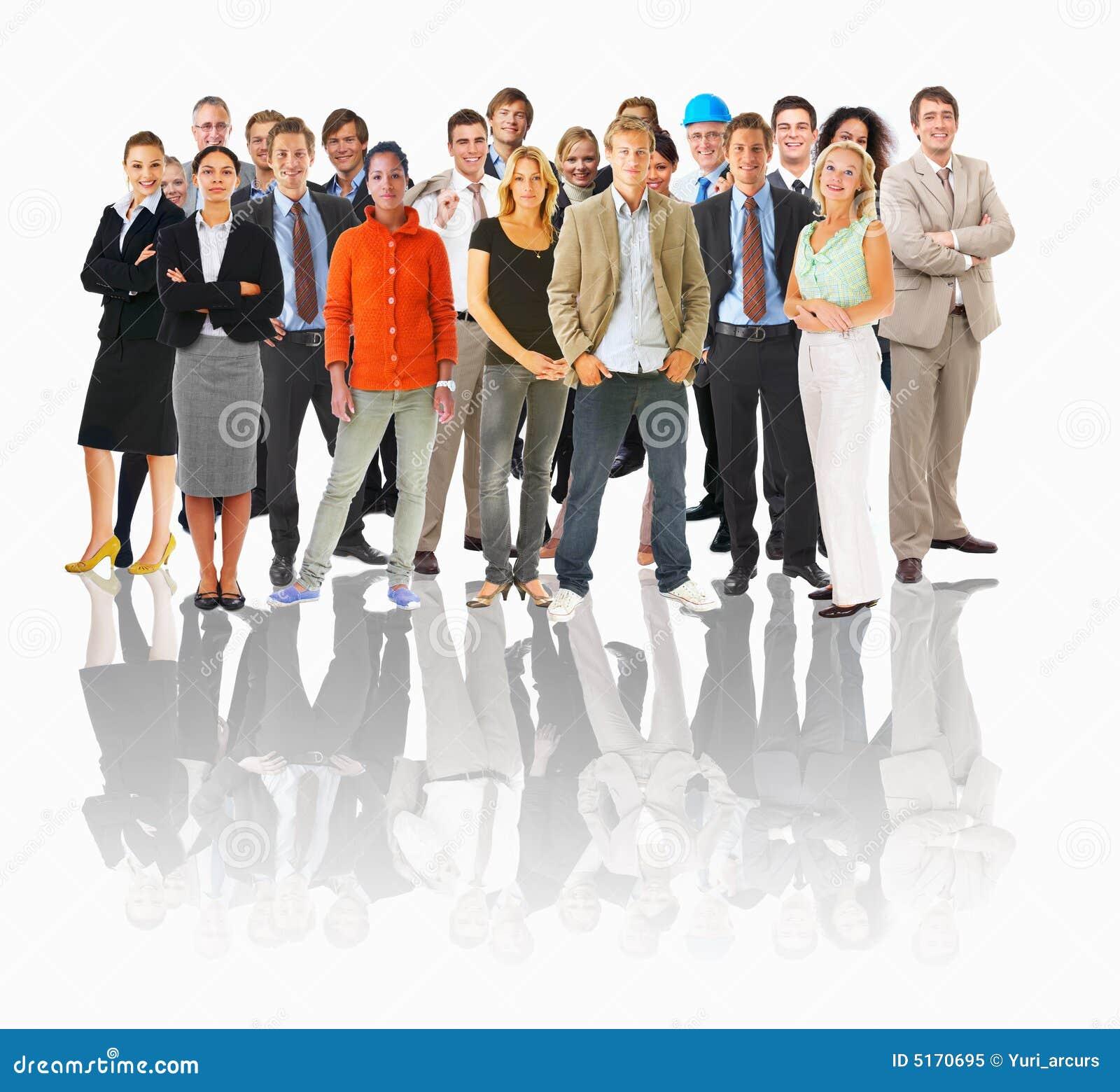 I gruppi di affari e la gente differente in una riga con