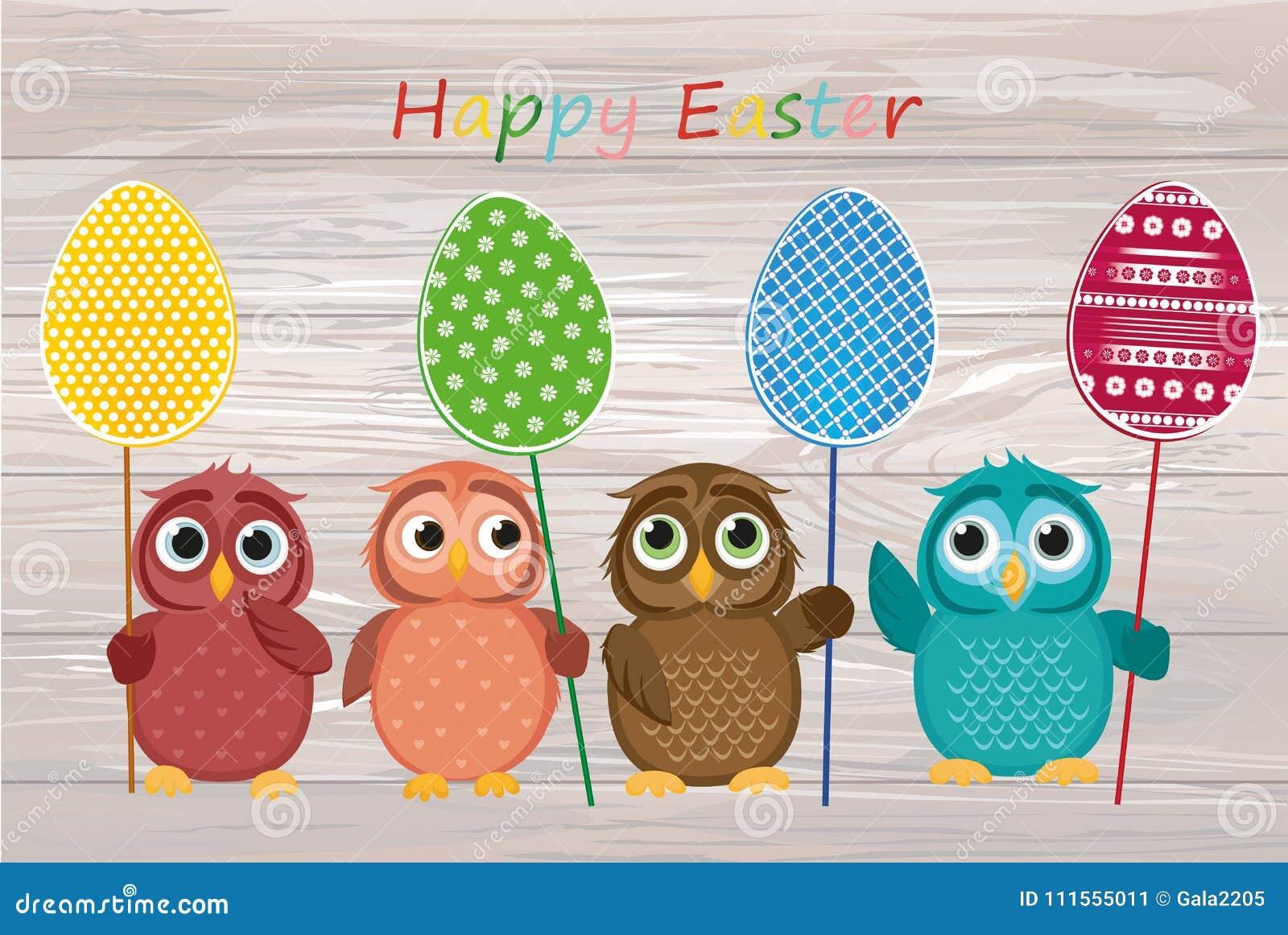 I gufi tengono le uova decorate Pasqua su un bastone multicolored Vettore