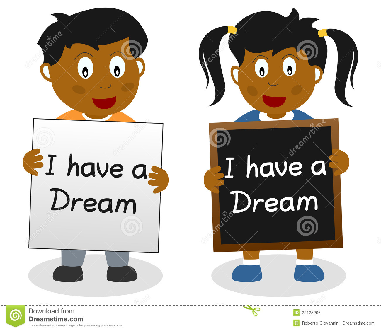 Two kids showing the famous quote of Martin Luther King, 'I have a ... Two Children Reading Clipart Black And White