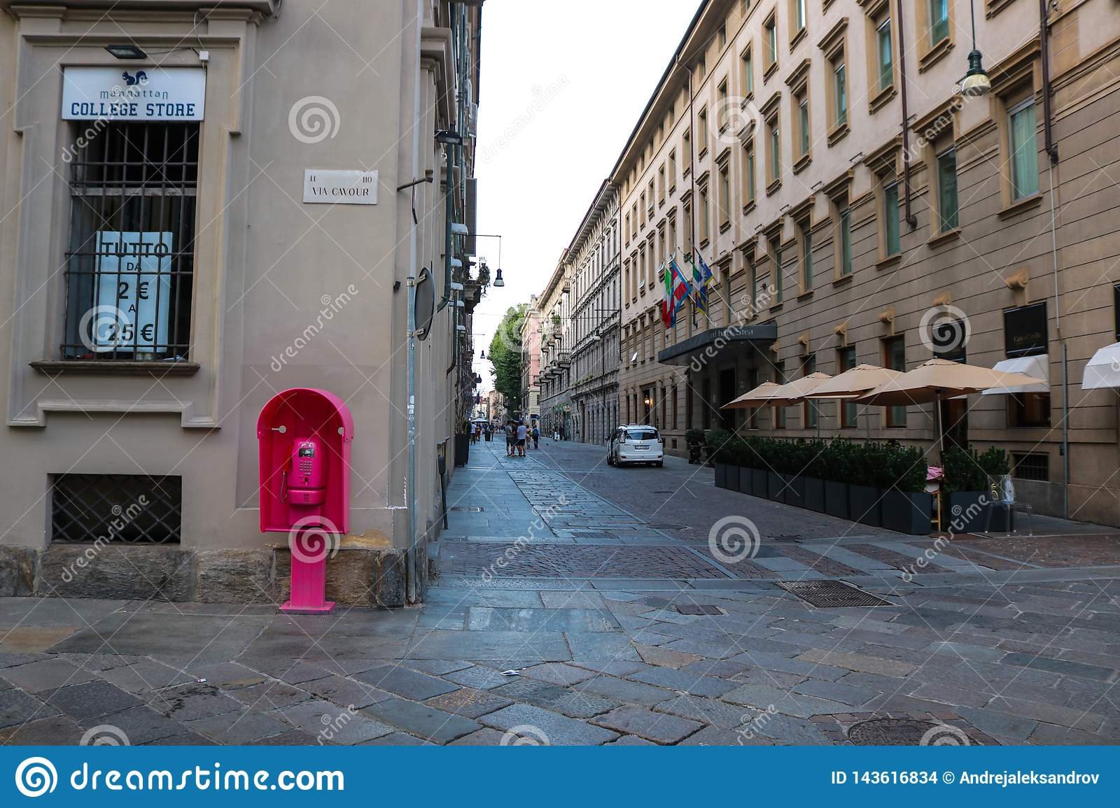 Torino pink telephone booth in the center of the city