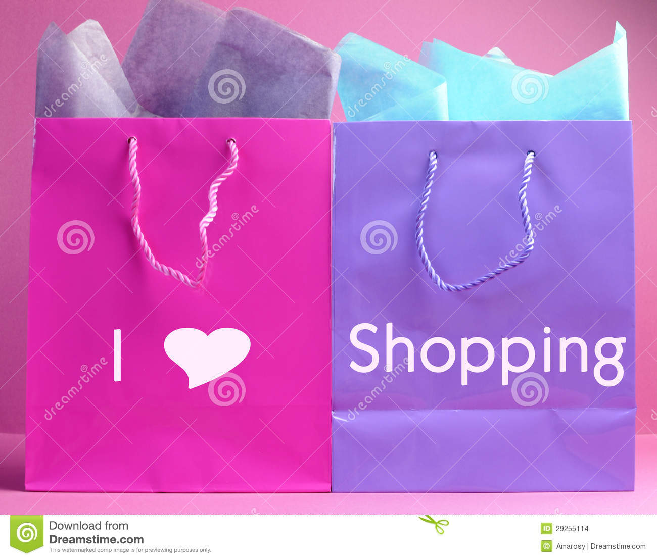 i heart love shopping message on pink and purple shopping bags