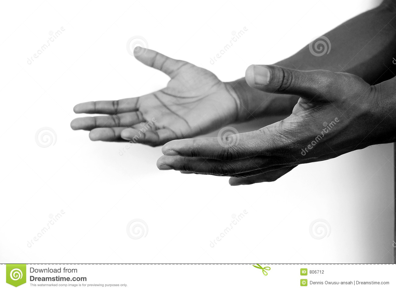 I am here - two hands b/w