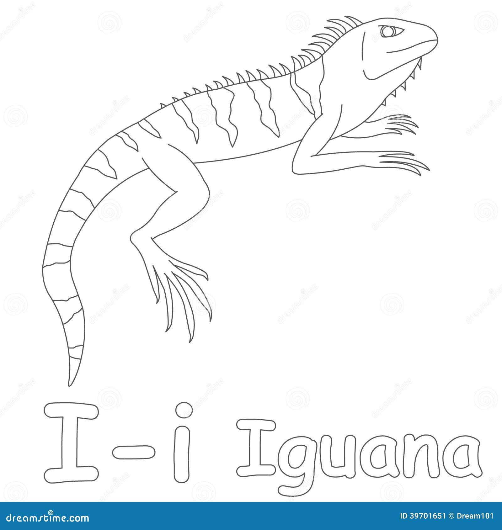 i for iguana coloring page stock illustration illustration of