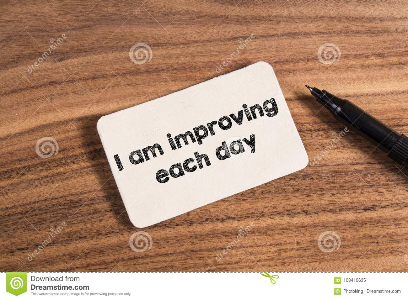 Download I Am Improving Each Day Word Stock Image - Image of marker, rustic: 103410635
