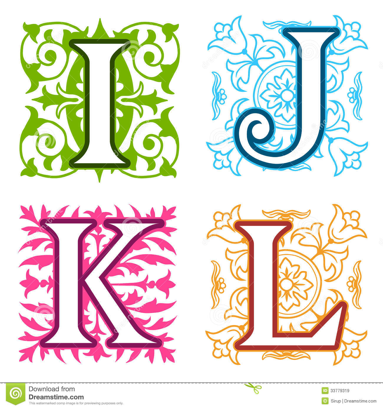 I J K L Alphabet Letters Floral Elements Royalty Free