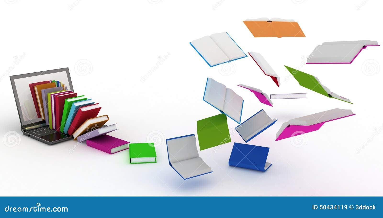 I libri volano nel vostro computer portatile illustrazione for Libri internet