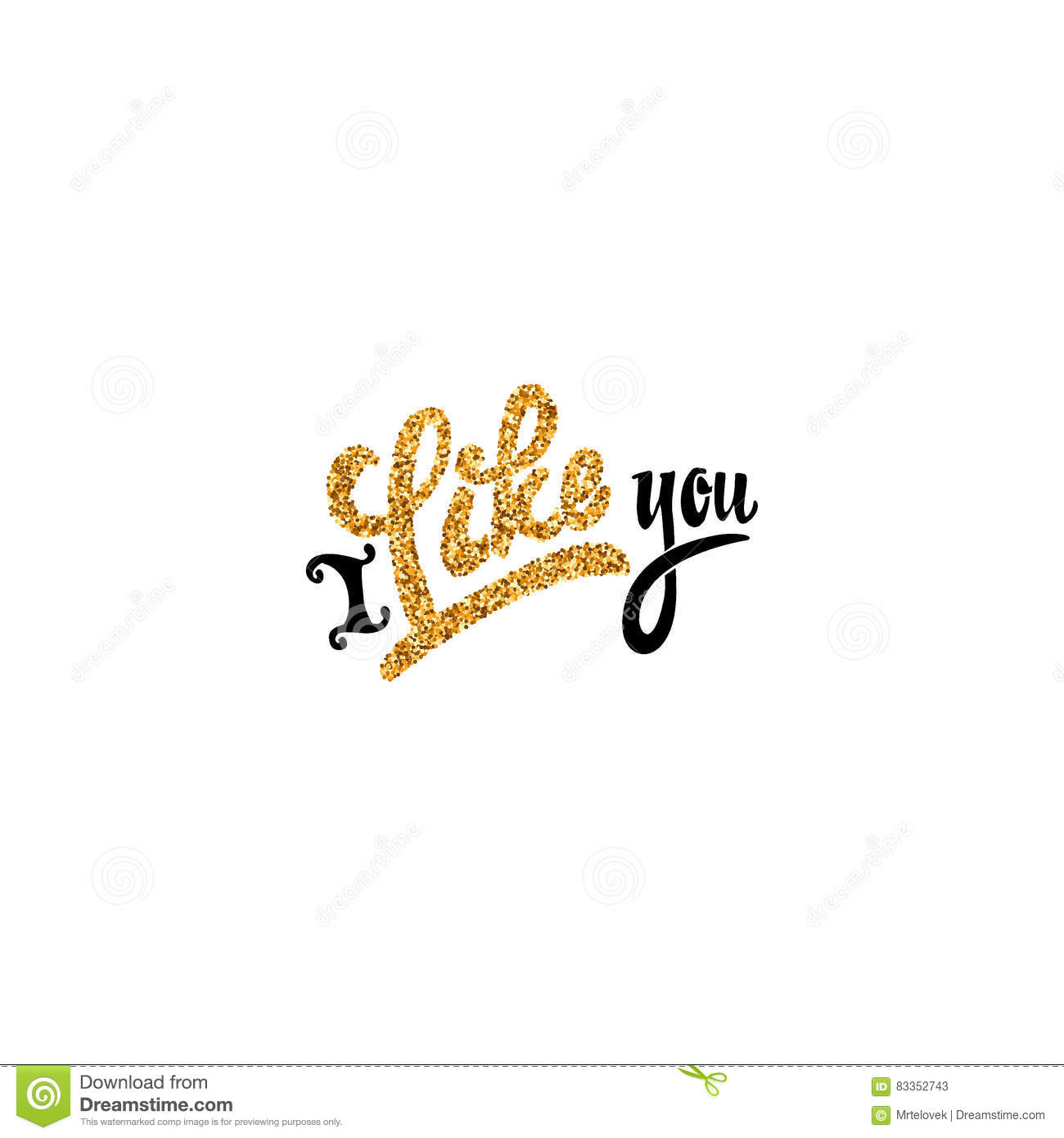 I like you gold lettering text handmade vector