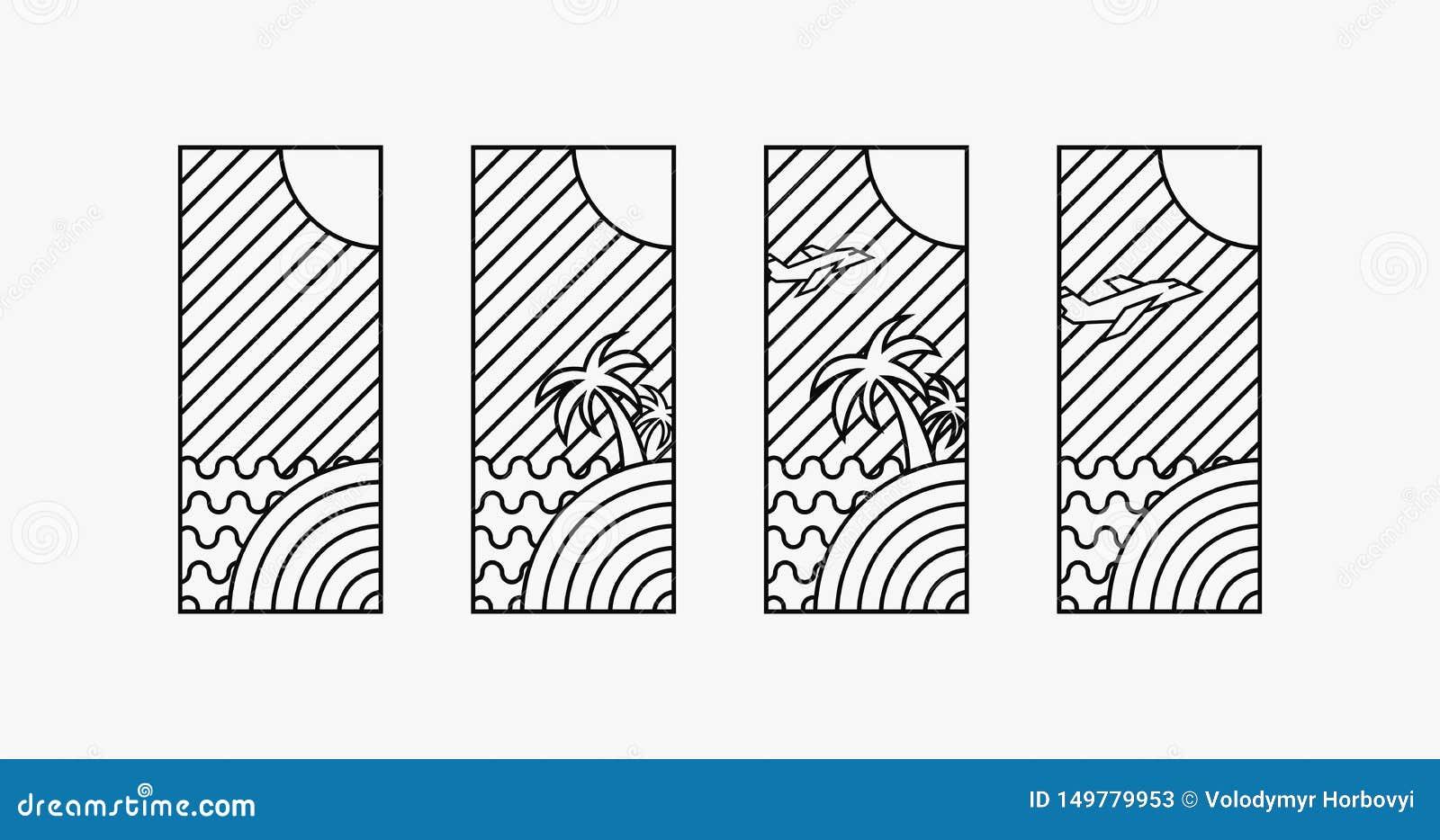 I logotypes di tempo di vacanze estive 4 progettano, arte digitale