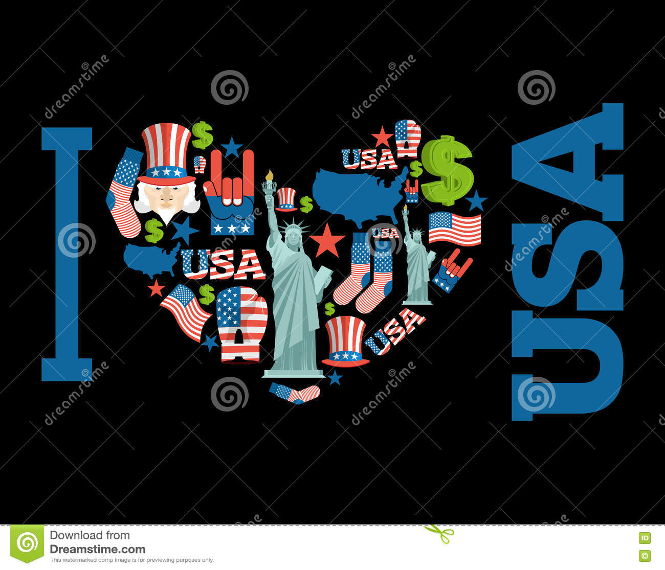 I love America. Sign heart of USA traditional folk characters.