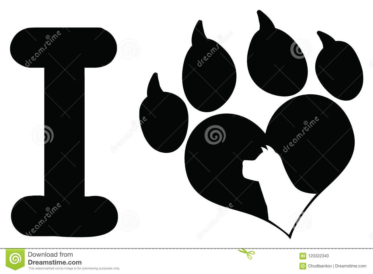 I Love With Black Heart Paw Print With Claws And Dog Head Silhouette