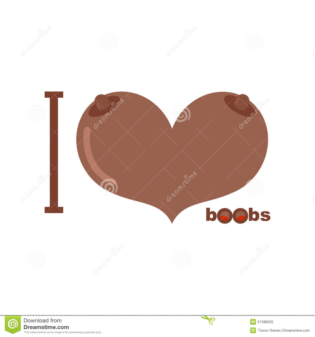 I Love Boobs Afro Americans Symbol Of Heart Of Tits Vector Ill