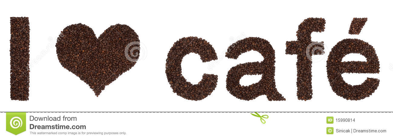 Download I Love Cafe From Coffee Beans Stock Photo - Image of sign, background: 15990814