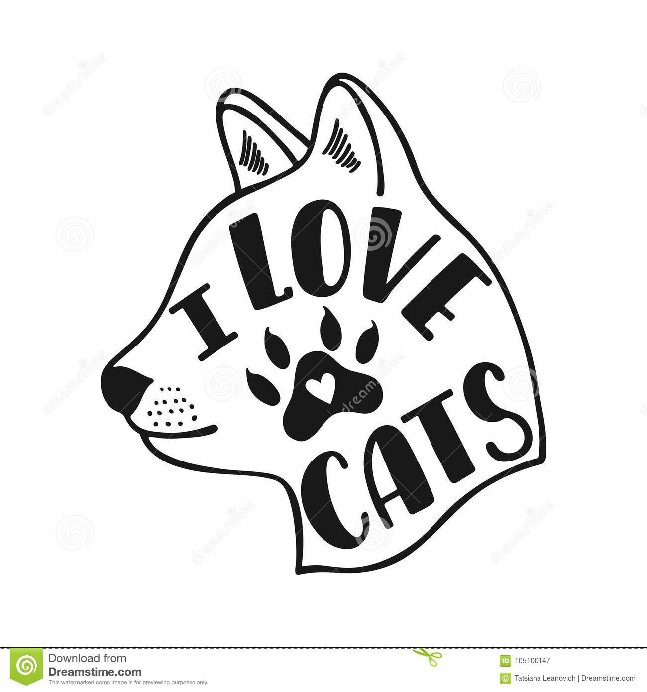 I Love Cats Handwritten Inspirational Quote About Cat Typography Lettering Design Black And White Vector Illustration Eps 10 Stock Illustration Illustration Of Illustration Doodle 105100147