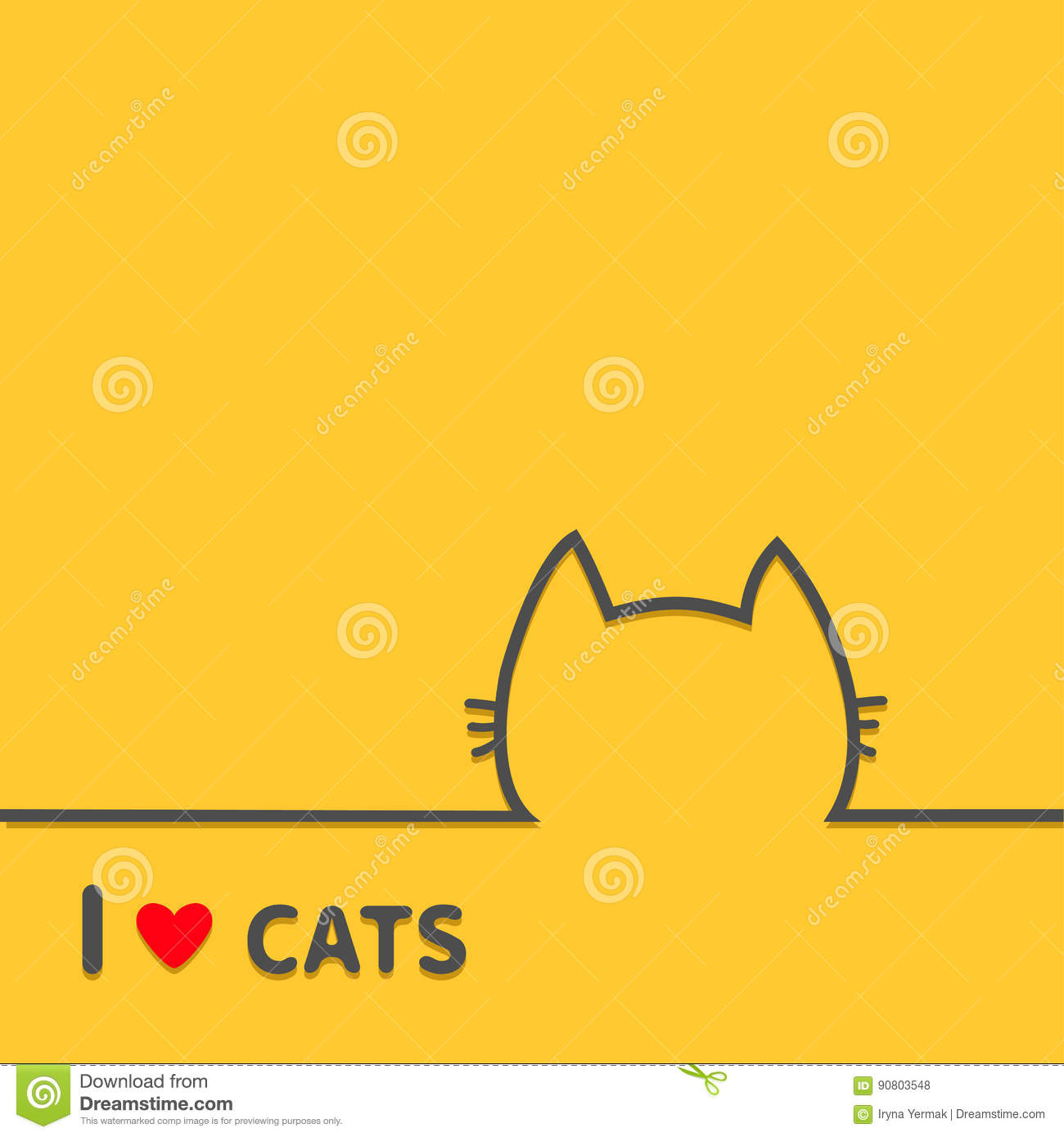 I love cats heart. Black cat head face contour silhouette line icon. Cute cartoon character. Text lettering. Kitten whisker Baby p