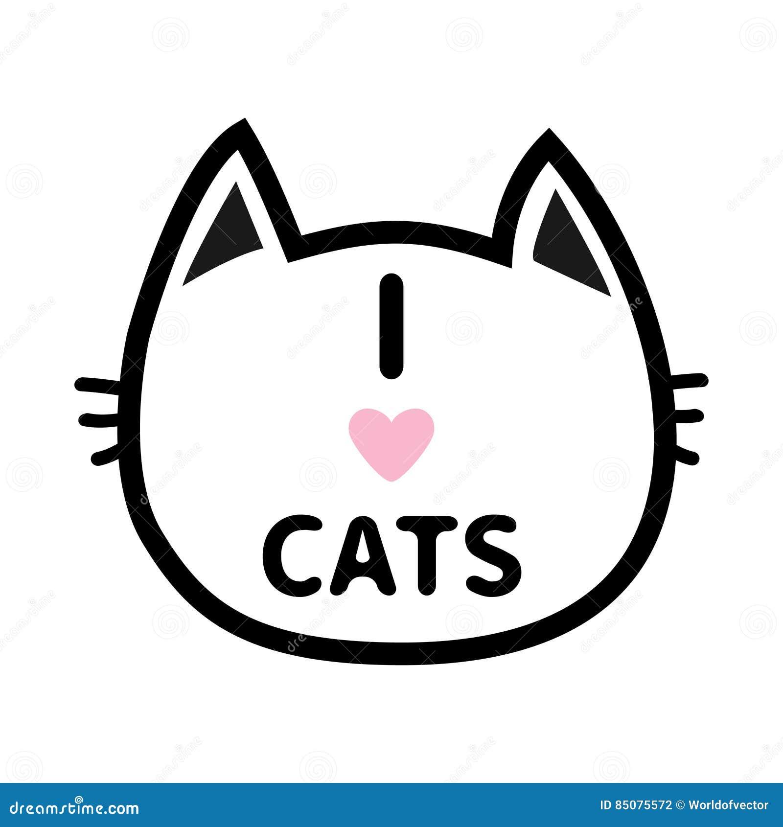 I Love Cats Heart Text Lettering Black Cat Head Face
