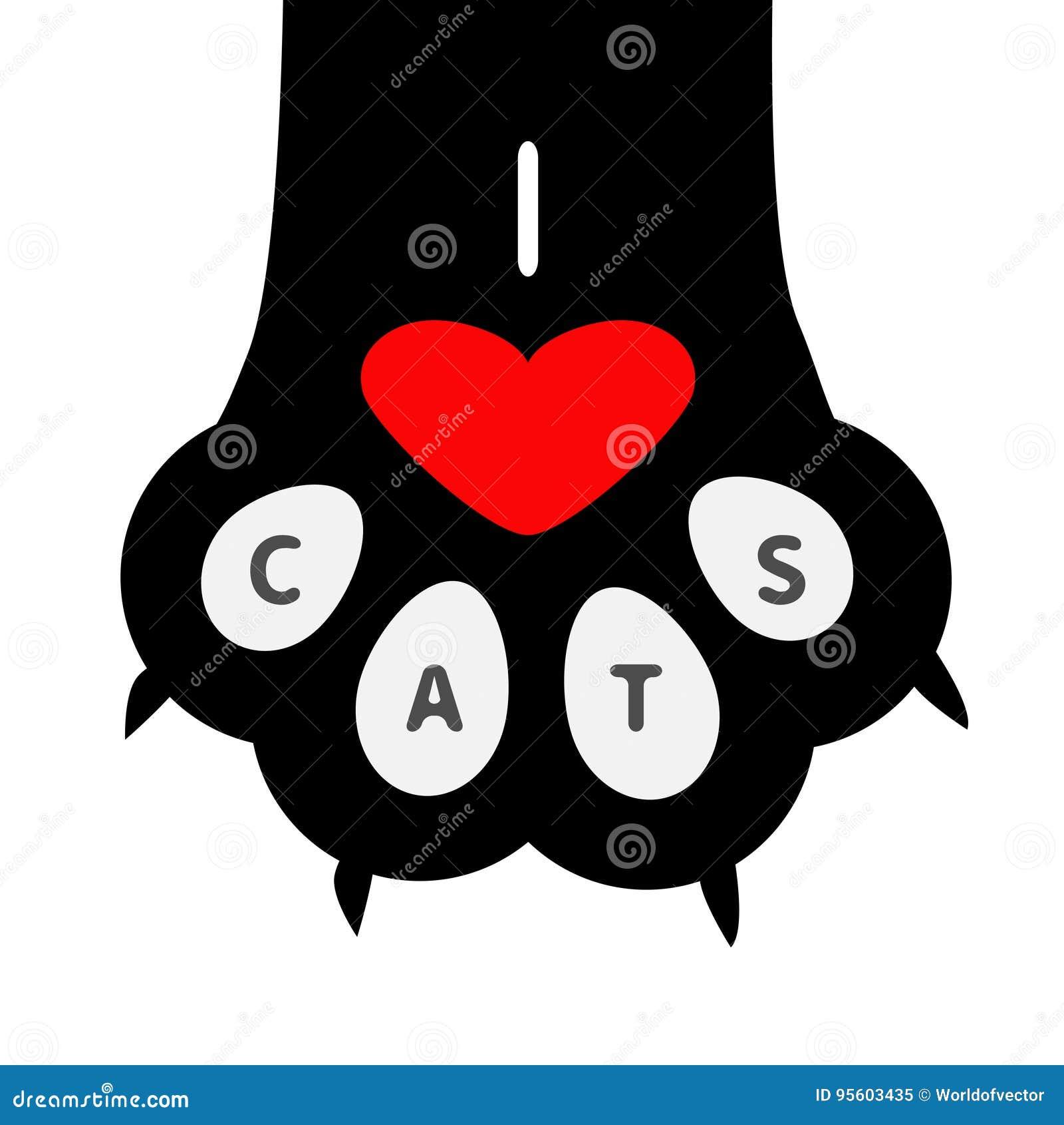 I love cats text big black cat paw print leg foot with nail claw i love cats text big black cat paw print leg foot with nail claw buycottarizona Image collections
