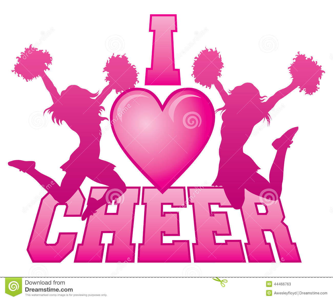 I Love Cheer Stock Vector Illustration Of Jump Female