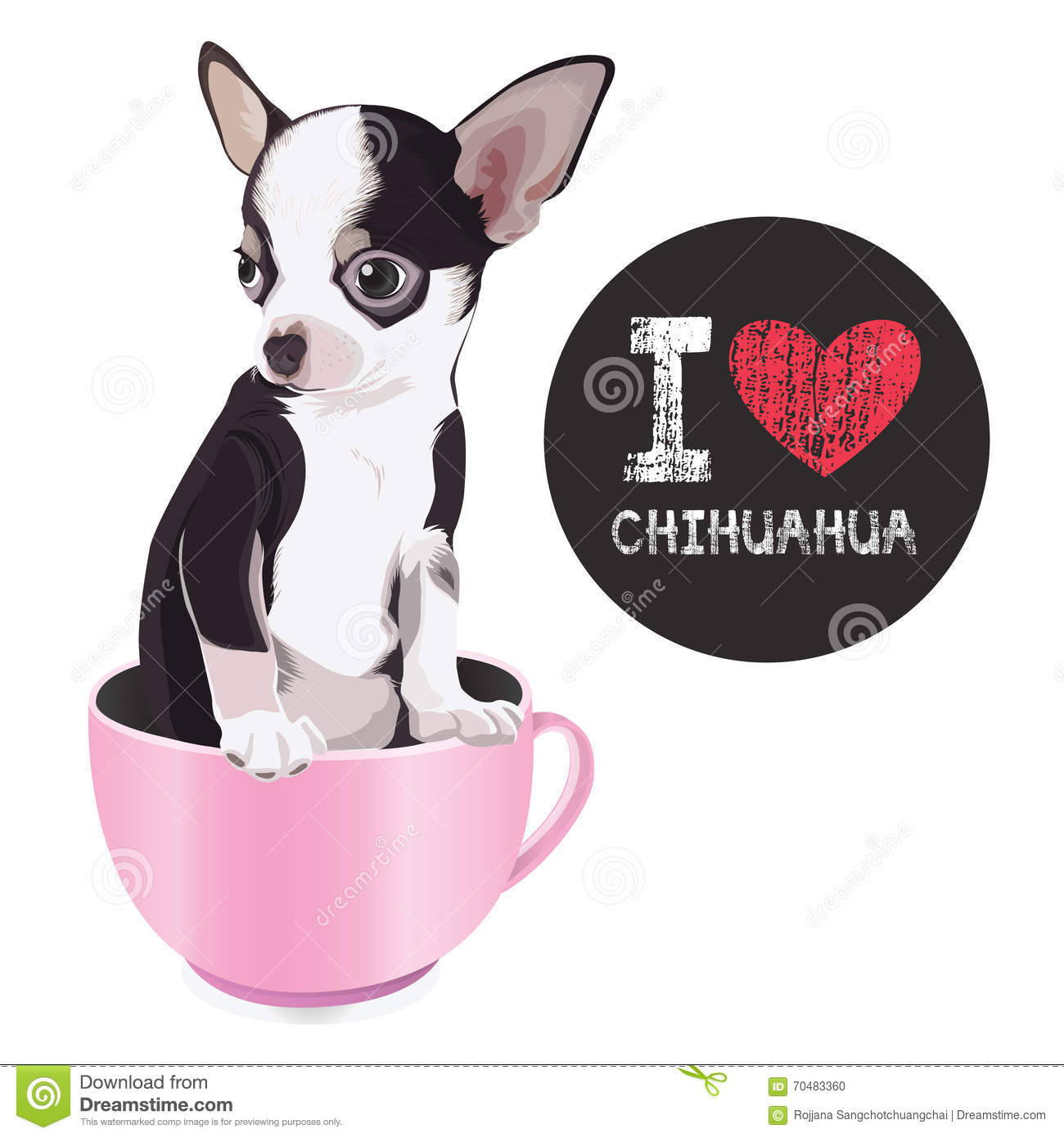 Download I Love Chihuahua stock vector. Illustration of animal ...