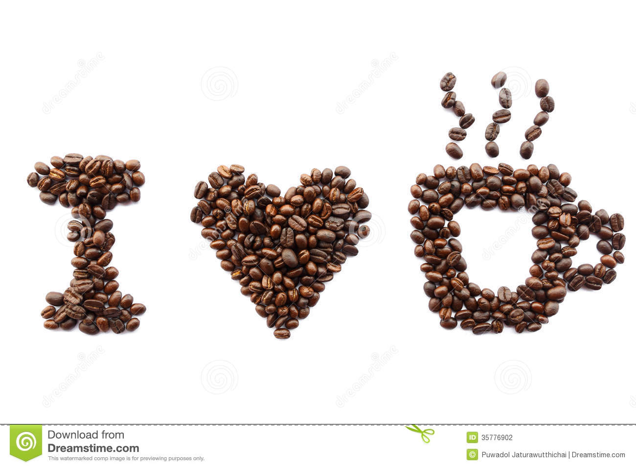 love coffee (coffee beans in shape of massage) on white background ...
